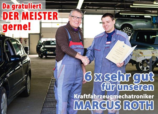 Gesellenprüfung KfZ Mechatroniker Autohaus Buschmann Marcus Roth