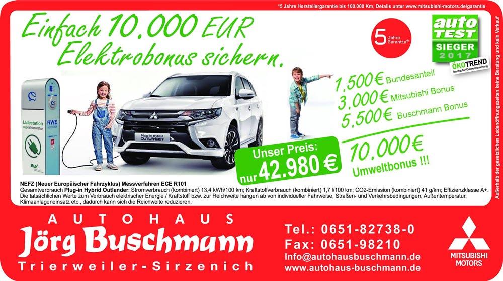 Aktion Plugin Hybrid Umweltbons 10000 EUR