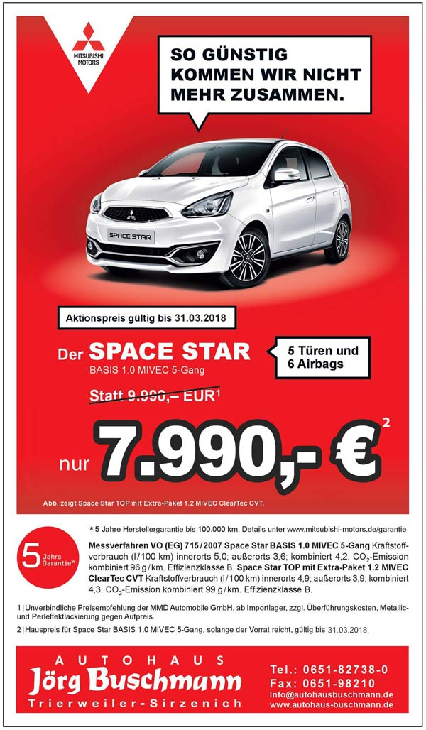 Mitsubishi Space Star Aktion bis 31.03.2018