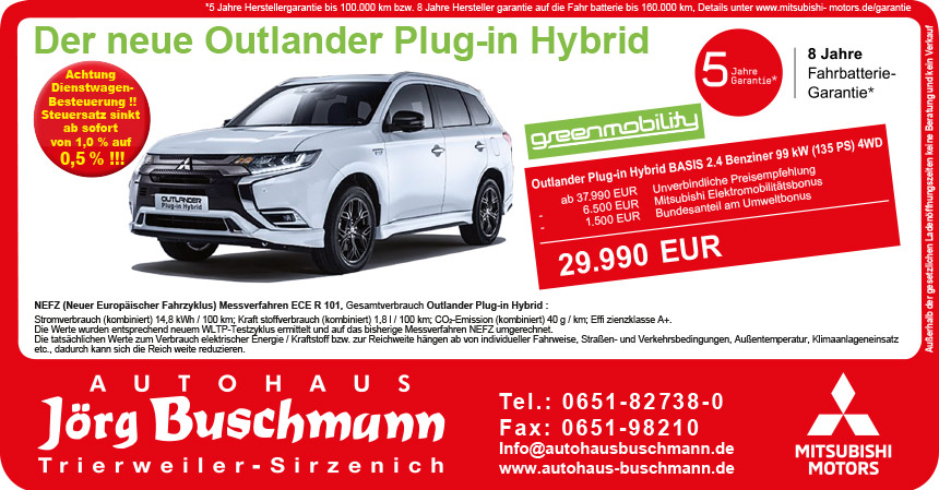 Outlander Plug-In Hybrid 0,5% Dienstwagen Besteuerung