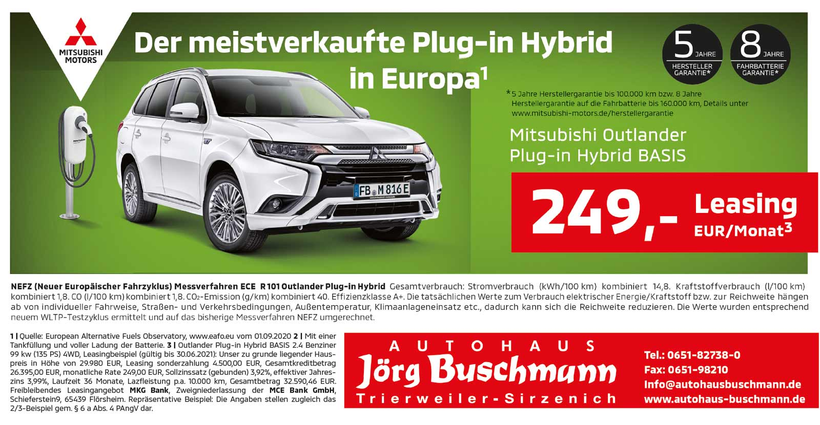 Mitsubishi Plu-In Hybrid Aktion Leasing